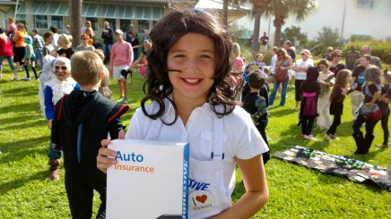 "Fifth-grader Sophia Belsito came as ""Flo"" to AME's Fall Festival costume contest. ""I had no clue what I wanted to be, but I was watching TV and the commercial came on. Everybody loves Flo!"" Sophia said."