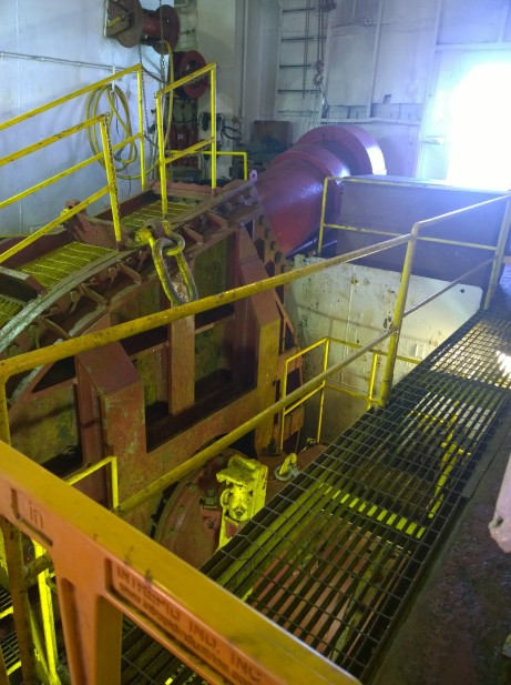 The main pump used to spin the cutter and suck sand from the seafloor occupies the majority of the space in the engine room of the barge.