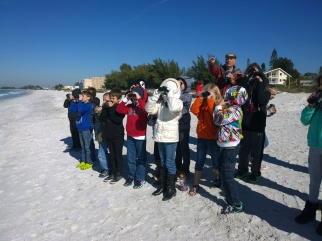 Birdwatcher John Ginaven leads students on a bird-watching expedition Jan. 23. Students were provided binoculars from a Sarasota Bay Estuary Program grant and guided in bird-watching techniques Jan. 23.