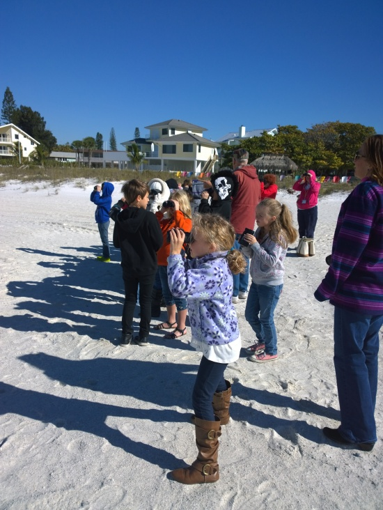 Anna Maria Elementary third-graders in Laura Redeker's class watch seabirds Jan. 23. Bird-watching on the beach is part of the Audubon Adventures curriculum provided by the Manatee County Audubon Society.