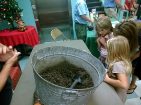 Children attending Anna Maria Elementary School's first science, technology, engineering, and math (STEM) night view fiddler crabs.