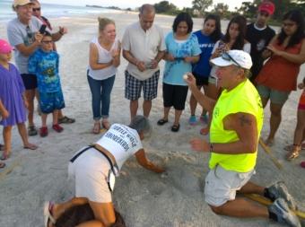 AMITW volunteer Claudia and Glenn Wiseman show onlookers a sea turtle egg.
