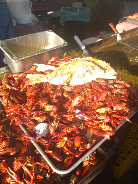 Whole-fried sheepshead sits on top hundreds of crayfish, waiting to be served to hungry patrons at the Cortez Commerical Fishing Festival Feb. 15.
